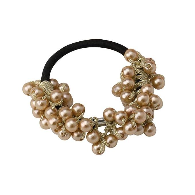Lugow Damen Perle Elastisches Haarband Stirnbänder Süße