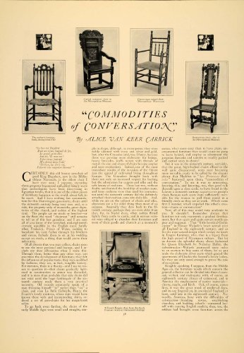 1924 Article Furniture Alice Carrick Arm Chair Chippendale Metropolitan Museum - Original Print Article (Furniture Alice)