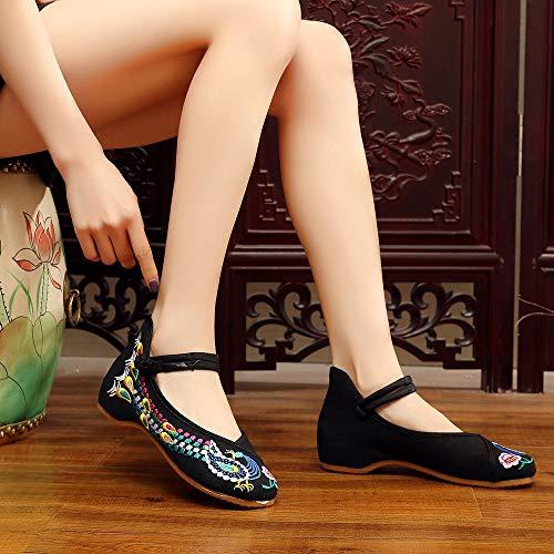 Bozevon Chaussures Beijing Florales Noir Femmes Brodées Compensées Pour Vieux vSqAv