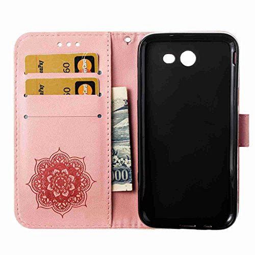 Funda Samsung Galaxy J3 2017 / J320, 5.2 pulgadas, Cáscara Samsung Galaxy J3 2017 / J320, Alfort Casco de Protección Relieve Carcasa PU Cierre Magnético Carcasa del teléfono con una función de Soporte Rosado