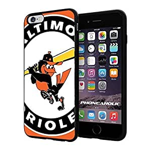 """MLB Baltimore Orioles American Professional Baseball Team,Cool iPhone 6 Plus (6+ , 5.5"""") Smartphone Case Cover Collector iphone TPU Rubber Case Black"""