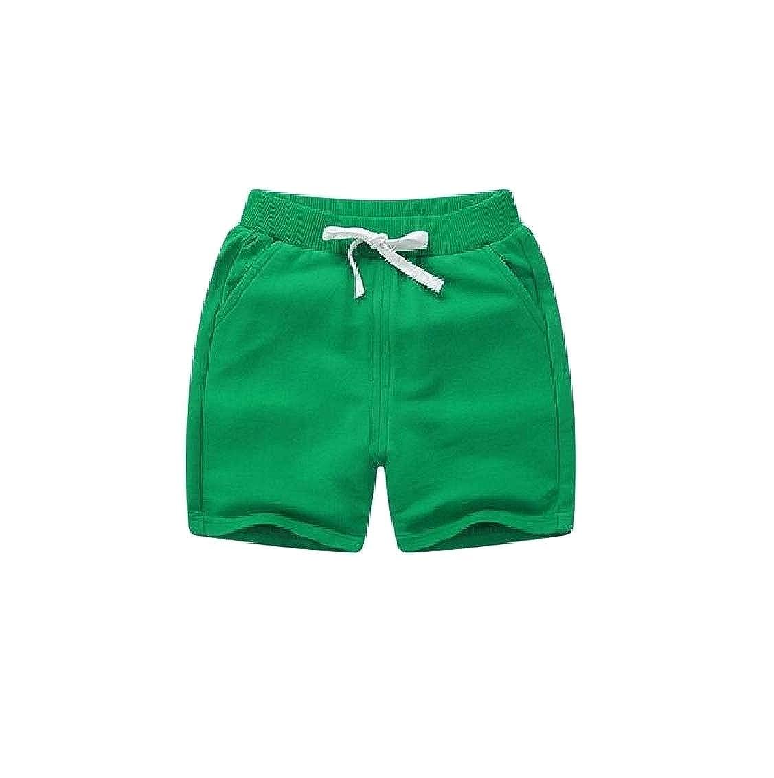 Sweatwater Girl Drawstring Sports Elastic Waist Boys Solid Shorts