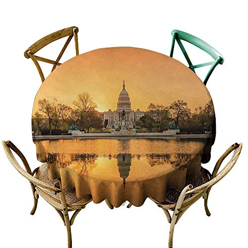 Zmlove United States Restaurant Tablecloth Washington DC American Capital City White House Above The Lake Landscape Picnic Apricot Ginger (Round - 71