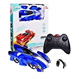 Wall Climber Zero Gravity Mini USB Remote Control Racer Vehicle Drive Up Any Smooth Surface, Boy's Birthday Party Gift Electrical RC Blue Driving Car (Instruction Guide Included)