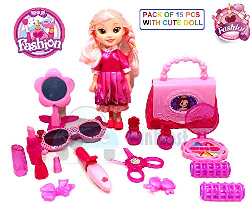 FunBlast Pretend Play Cosmetic and Makeup Toy for Girls Beauty Kit with Doll for Girls & Kids (Multicolor)