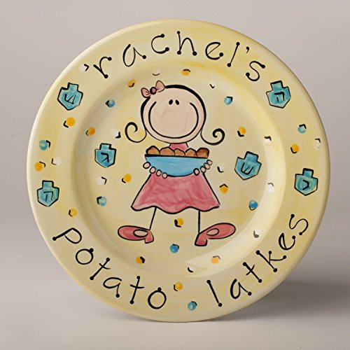 personalized potato latke chanukkah plate for girl