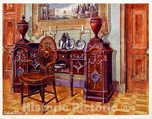 (Historic Pictoric 1910 Print | Carved mahogany pedestal sideboard. Property of W. Walters, Esq, Baltimore, U.S | Vintage Wall Art | 44in x)