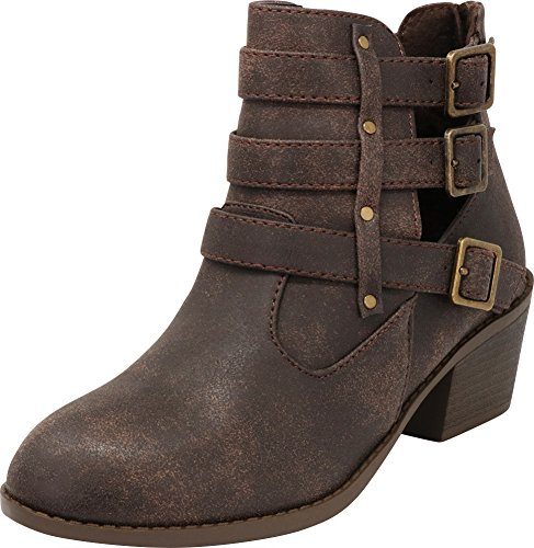 Round Bootie Closed Buckle Strap Western Block Ankle Cambridge Brown Triple Pu Stacked Side Heel Select Cutout Toe Chunky Women's aWqfO