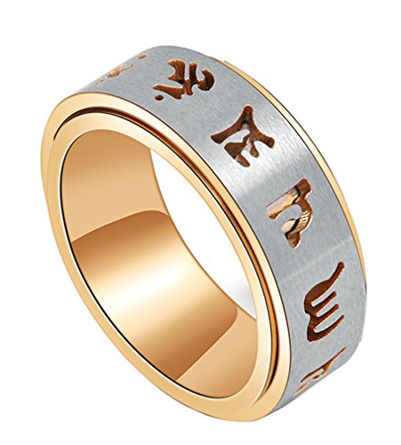 ALEXTINA Men's 8MM Stainless Steel Ring Carved Om Mani Padme Hum Spinning Band Gold Size (Carved Band)