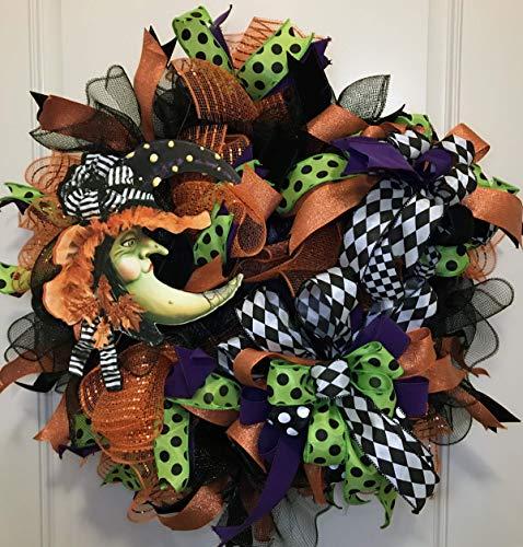 (Halloween Wreath | Halloween Wreath For Front Door | Halloween Witch Wreath | Fall Wreath | Deco Mesh)
