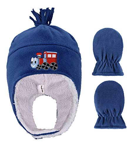Boys Polar Fleece Winter Set Hat and Mittens for Toddlers,Train Royal,6-24Months
