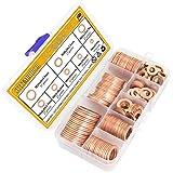Sutemribor 150PCS 8 Sizes Copper Metric Sealing Washers Flat Washers Assortment Kit