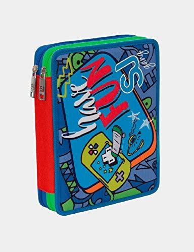 Estuche Escolar 2 Compartimentos Seven Maxi - SJ Boy - 2 Pisos - Naranja Azul - con lápiz, marcadores, boligrafos.: Amazon.es: Equipaje