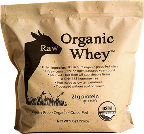 Raw Organic Whey 5LB - USDA Certified Organic Whey Protein Powder, Happy Healthy Cows, COLD PROCESSED Undenatured 100% Grass Fed + NON-GMO + rBGH Free + Gluten Free, Unflavored, Unsweetened(5 LB BULK) (Organic Grass Fed Whey Protein)