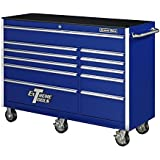 Extreme Tools EX5611RCBL Ex Standard Series 11 Drawer Roller Cabinet with Ball Bearing Slides, 56-Inch, Blue High Gloss Powder Coat Finish