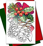 Christmas Cards for Coloring by Adults and Children |12 Cards to Color | With Envelopes Included | Art Eclect Set B1