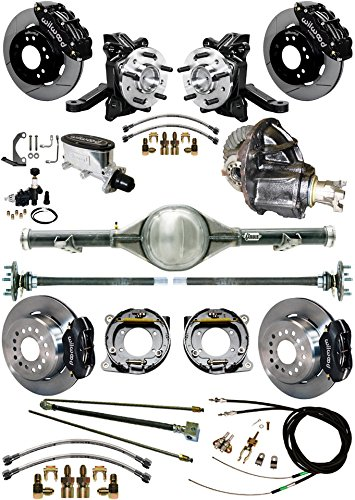 "NEW SUSPENSION & BRAKE SET WITH CURRIE REAR END & AXLES, 2 1/2"" DROP SPINDLES, POSI GEAR, BLACK WILWOOD CALIPERS, DISCS, LINES, 1971-1987 CHEVY C10 GMC C15 2WD TRUCKS 1972 1973 1974 1975 1976 1977 -  Southwest Speed, GMC7087X5-K11"