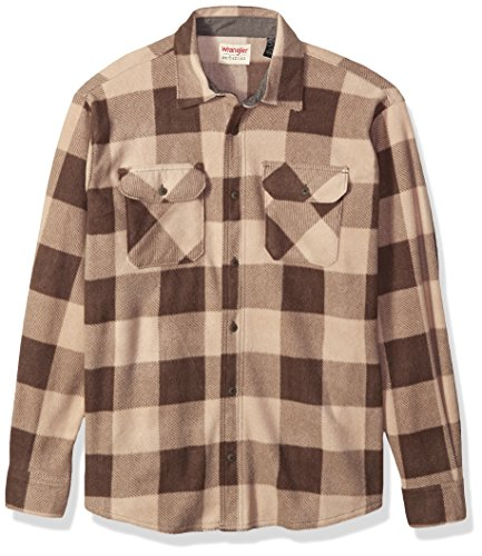 Wrangler Authentics Men's Long Sleeve Plaid Fleece Shirt, Dune Buffalo, Small