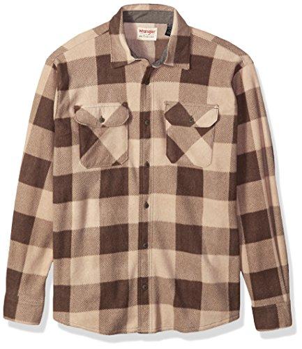 - Wrangler Authentics Men's Long Sleeve Plaid Fleece Shirt, Dune Buffalo, Small