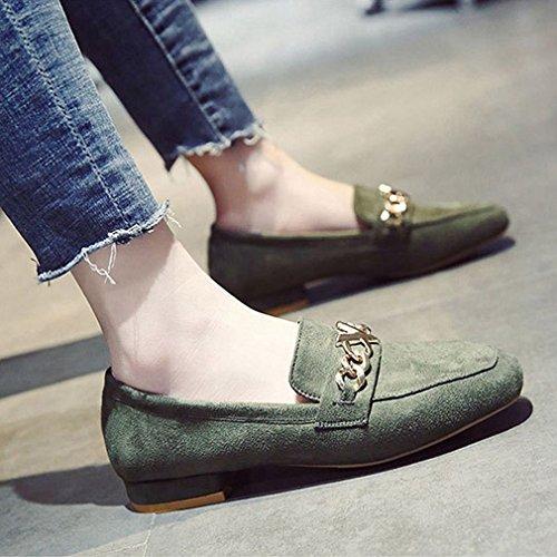 Giy Kvinna Klassiska Penny Loafers Fyrkantig Tå Slip-on Klänning Dagdrivare Metallkedja Tillfälliga Oxford Skor Grönt
