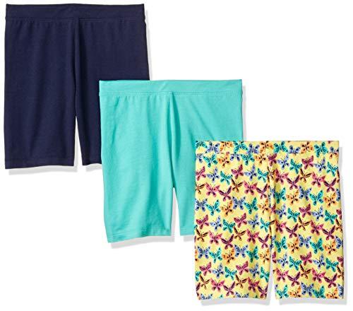 Amazon Brand - Spotted Zebra Girls' Little Kid 3-Pack Bike Shorts, Butterflies, Small (6-7) (6 Short)