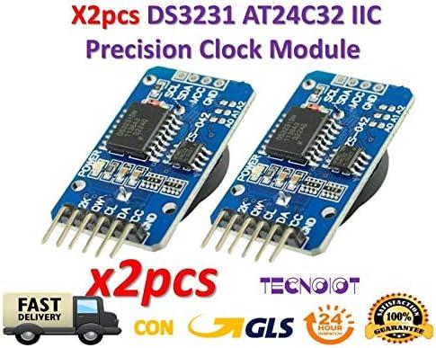 TECNOIOT 2xpcs DS3231 AT24C32 IIC Module Precision Clock for Arduino | 2xpcs I2C Modul Tiny DS3231 AT24C32 Präzision Echtzeituhr Modul für Arduino