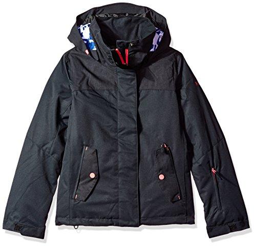 Roxy Big Girls' Jetty Solid Snow Jacket, True Black, 10/M by Roxy