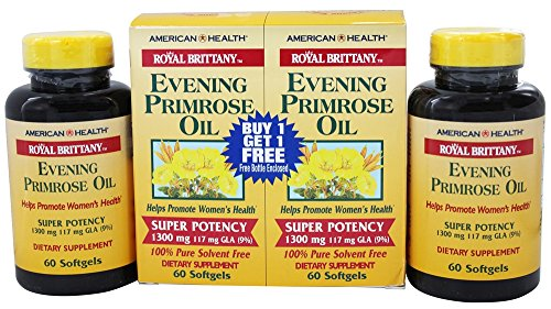 Royal Brittany Evening Primrose Oil (American Health Royal Brittany Evening Primrose Oil Super Potency (60+60) Twin Pack Special 120 Softgels)