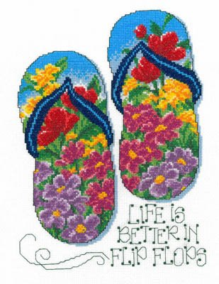 Flip Flop Summer Cross Stitch Chart and Free Embellishment