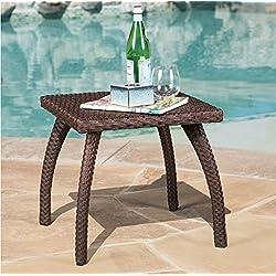 Honolulu Outdoor Wicker Side Table In Brown