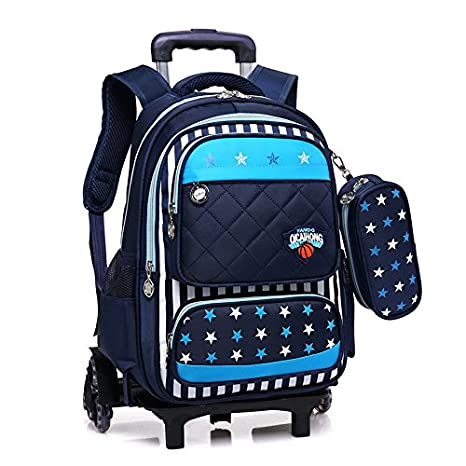 Niños MinegRong 2/6 ruedas desmontables Mochila trolley con ruedas Mochila escolar bolsas para niños niñas bolsas de viaje niño Mochila escolar Mochila,seis ...
