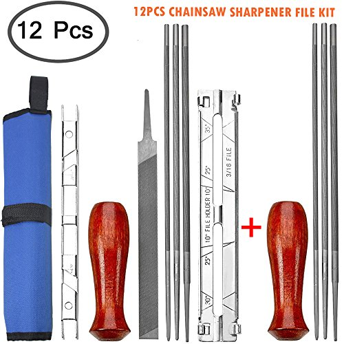 DanziX Pack of 12 Chainsaw Sharpener File Kit - 5/32, 3/16, 7/32 Inch Files(2 Sets), Wood Handles(2), Depth Gauge, Filing Guide, Tool Pouch - For Sharpening & Filing Chainsaws & Other Blades by DanziX