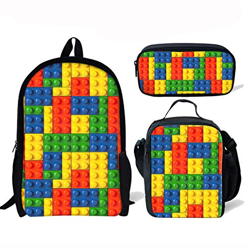 ThiKin Building Blocks School Backpacks for Kids Boy Girls Lightweight Backpack Bookbags Set (Personalized Lego Water Bottle)