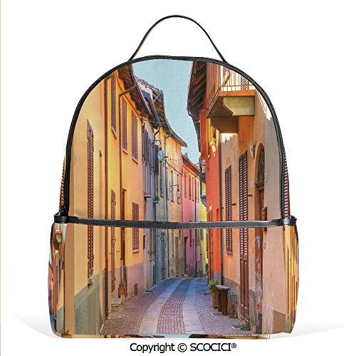 3D Printed Pattern Backpack Narrow Paves Street Among Old Houses in Town Serralunga DAlba Piedmont Decorative,Pale Orange Brown Pink,Adorable Funny Personalized Graphics