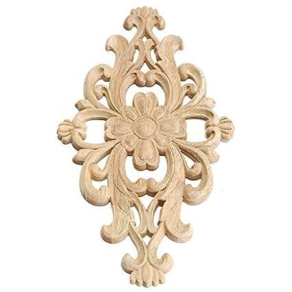Amazon pc flower pattern wood carved unpainted wood oak