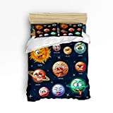 Emoji Bed Set for Sale YEHO Art Gallery Comfortable Duvet Cover Set Cute Bed Sets for Kids,Cartoon Planet Emoji Pattern Children Bedding Sets,Include 1 Duvet Cover 1 Bed Sheets 2 Pillow Case,Queen Size