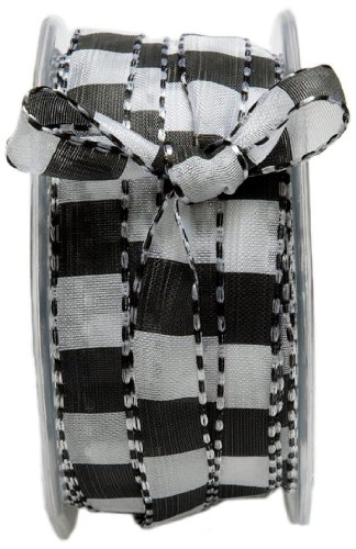 (May Arts 1/2-Inch Wide Ribbon, Black and White Squares)