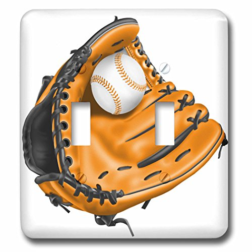 Baseball Illustrations (3dRose Anne Marie Baugh - Illustrations - Orange Baseball Mitt and Baseball Illustration - Light Switch Covers - double toggle switch (lsp_267620_2))
