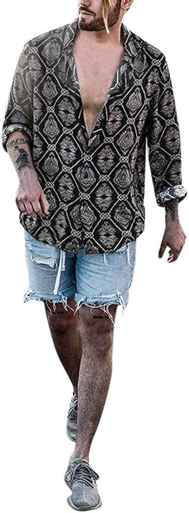 Camisa Holgada con Estampado para Hombre Slim fit Shirt de ...