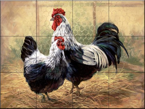Ceramic Tile Mural - Black Rooster and Hen - by Laurie Snow Hein - Kitchen backsplash / Bathroom shower