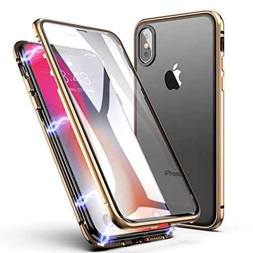 - iPhone Xs Max Case, ZHIKE Magnetic Adsorption Case Front and Back Tempered Glass Full Screen Coverage One-Piece Design Flip Cover [Support Wireless Charging] for Apple iPhone Xs Max (Golden)