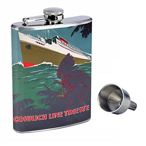 ヴィンテージボートPerfectionスタイルでポスター8オンスステンレススチールWhiskey Flask with Free Funnel d-007   B016XLITOS