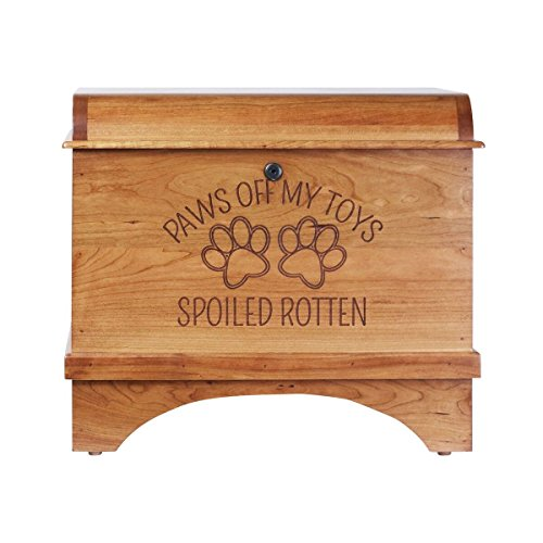 Pet Toy Box Storage Hope Chest for Pets, Spoiled Rotten Birthday gift for Dogs, Daughter, Sons, Boys and Girls, Grandchildren, Made With Cherry wood Made in USA By Rooms Organized (Spoiled Rotten) by Rooms Organized