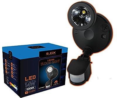 "SleekLighting LED 14 Watt, Security Protection Motion Activated Sensor, Super Bright 1030 Lumens LED Floodlight Corrosion-resistant Fixture"" Weatherproof Outdoor UL Listed"