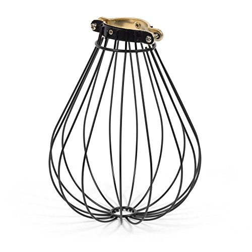 Rustic State Balloon Design Metal Light Cage Guard – Decorative Lamp Shade Black
