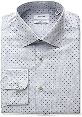 Calvin Klein Men's Non Iron Regular Fit Printed Check Spread Collar Dress Shirt