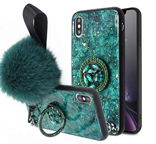 Lozeguyc iPhone XR Bling Marble Kickstand Case,iPhone XR Luxury Soft Hard Back Case Shiny Glass Shockproof Ring Stand Cover for iPhone XR 6.1 Inch-Green
