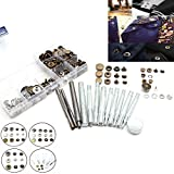 13 PCs Leather Rivets Setter Tools With 8x10 Pieces Decorative Rivets,Die Punch Snap Kit Fasteners Press Studs Brass But