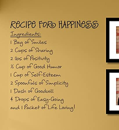 Amazon.com: Recipe for happiness... Vinyl Wall Decals Quotes Sayings ...