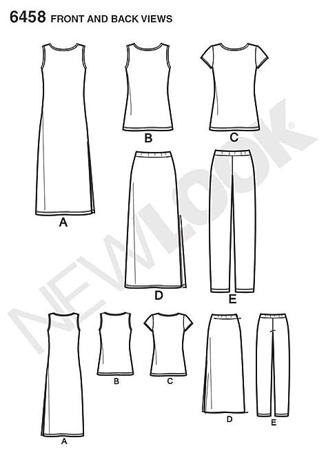 Color Blanco patr/ón de Costura Look 6458/un Separa de Punto Patrones de Costura para f/ácil